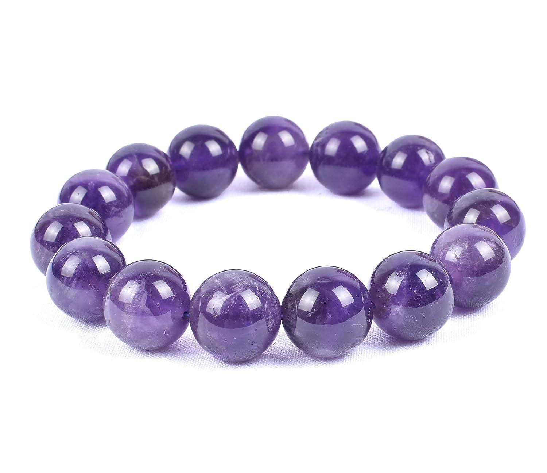 Natural Dark Purple Amethyst 14MM Large Beads Gemstone Stretch Chakra Healing Bracelet 6-10 Inch Round Crystal Gift for Men Women