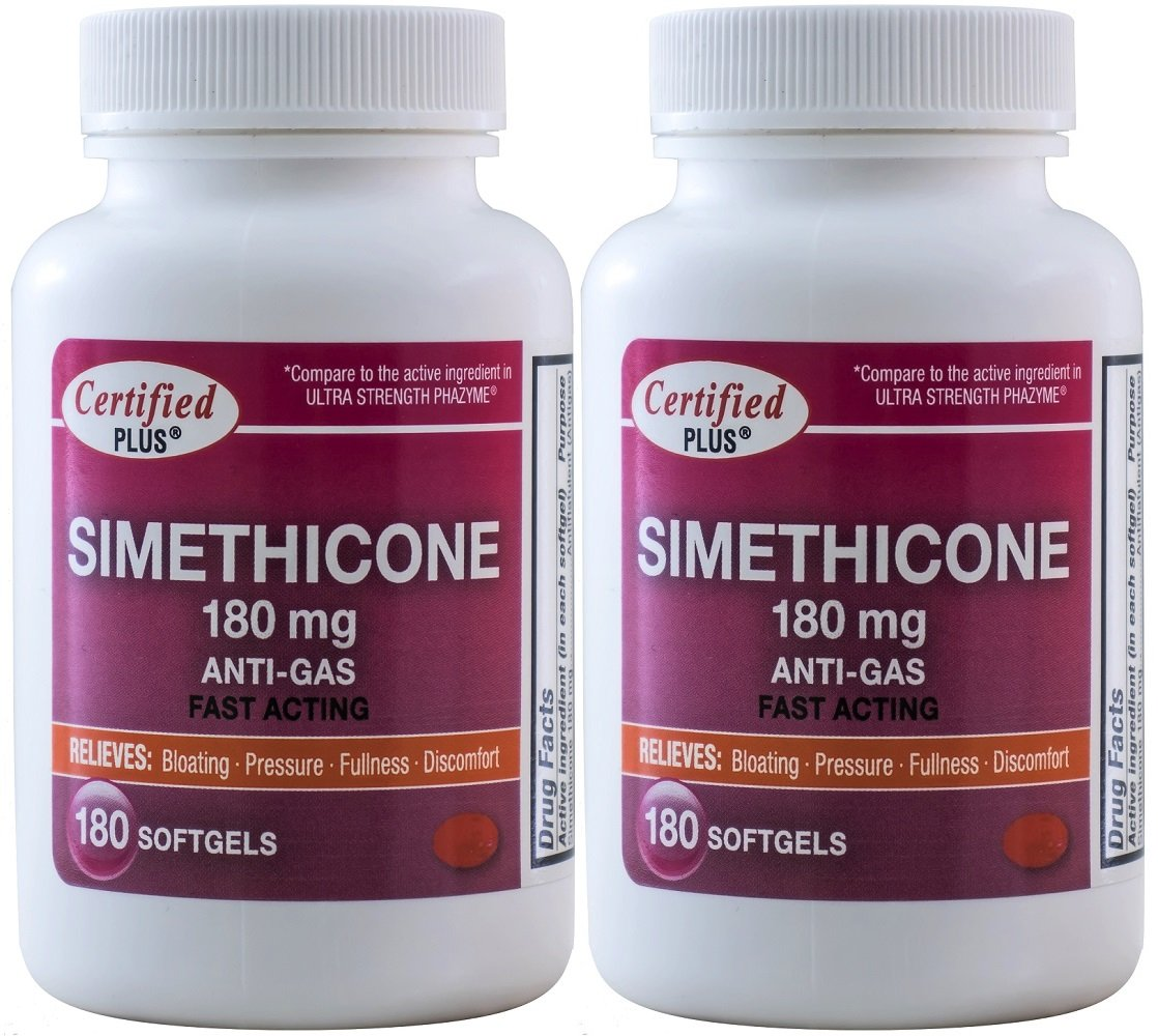 Simethicone 180 mg 360 Softgels Anti-Gas Generic for Phazyme Ultra Strength Fast Relief of Stomach Gas and Bloating 180 Gelcaps per Bottle Pack of 2 Total 360 Gelcaps by Advance Pharmaceutical