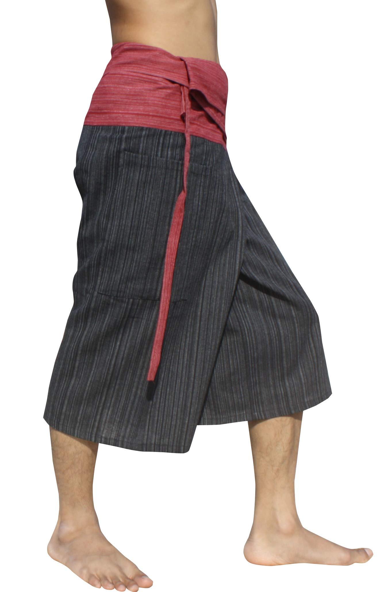 Raan Pah Muang Thin Striped Cotton Two Tone Fisherman Capri Wrap Plus Sized Pants, XX-Large, Burgundy Red/Black by Raan Pah Muang