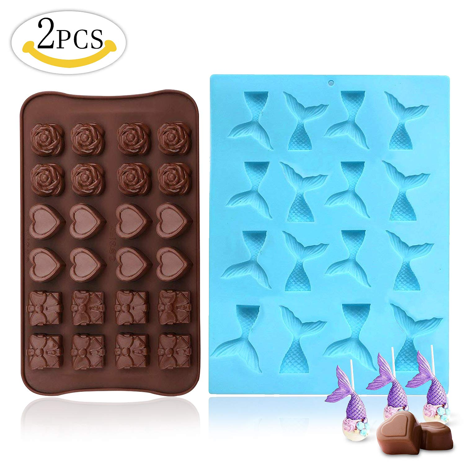 Silicone Chocolate Candy Molds(2 PCS),MMTX 16 Cavity Mermaid Tail and 24 Cavity Rose Flowers, Gift Box and Heart Shape Mold for Cake Decor Chocolate Candy DIY Baking