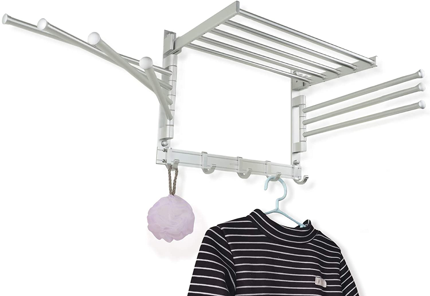 Drying Rotatable Hook Wall Mounted Clothes Hanger Laundry Hangers Storage Rack