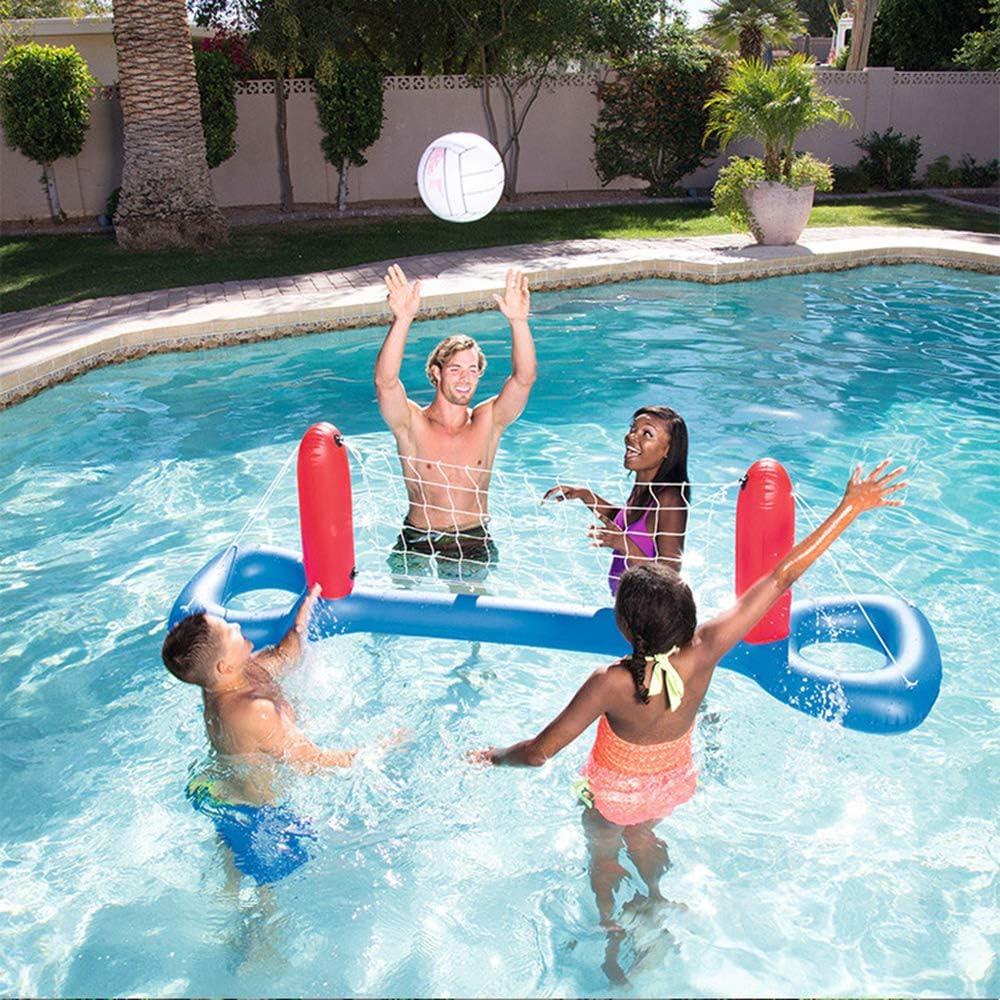 Juego de juego de voleibol de piscina inflable, juego de aro flotante, juguete de piscina de juego de voleibol de agua flotante de marco, fácil de inflar y desinflar, para adultos y niños (E)