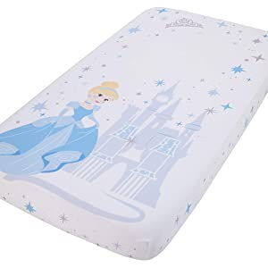 Disney Princess Cinderella - Light Blue & White Photo Op Fitted Crib Sheet, Blue, White