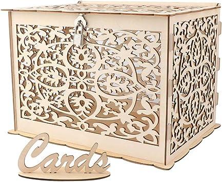 TBhappy - Caja de tarjetas de boda rústica hueca de madera con cerradura y cartel para bodas y fiestas de baby shower: Amazon.es: Hogar