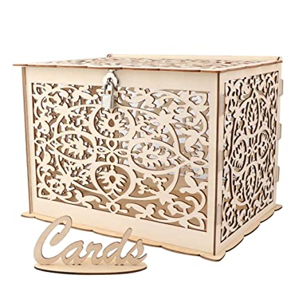 Aytai Diy Rustic Wedding Card Box With Lock And Card Sign Wooden Gift Card Box Money Box For Reception Wedding Anniversary Baby Shower Birthday