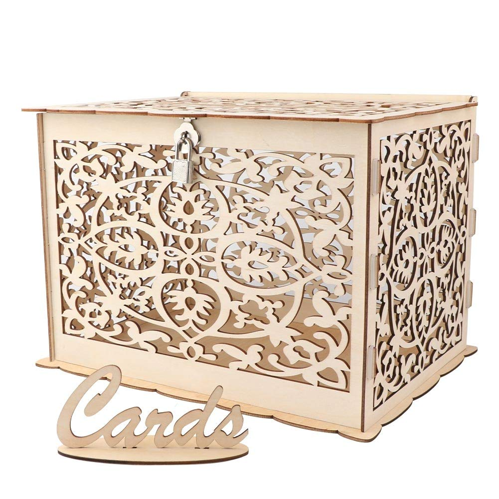 Galleon Aytai Diy Rustic Wedding Card Box With Lock And Card