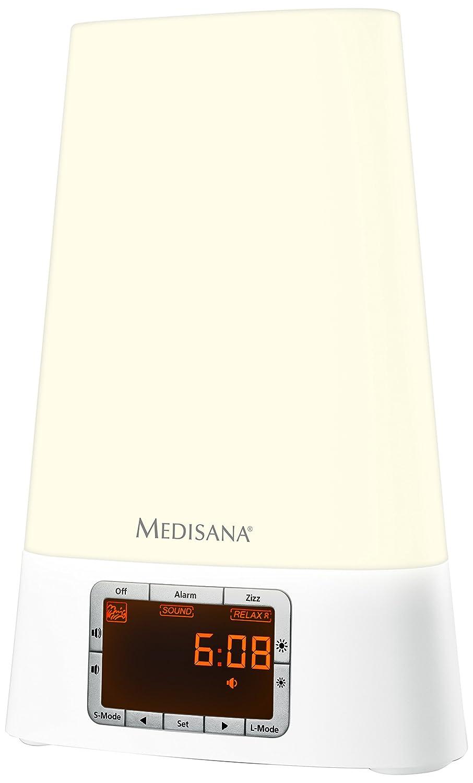 Medisana Sunrise Alarm Clock – Fall Asleep Easier Red Light, Stimulate Sleep Hormones, Natural Biorhythm Awakening, Energy Saving LED, 7 Colours, 8 Sounds, Gradual 30 Min Wake Up, Snooze + Zizz Button 89072