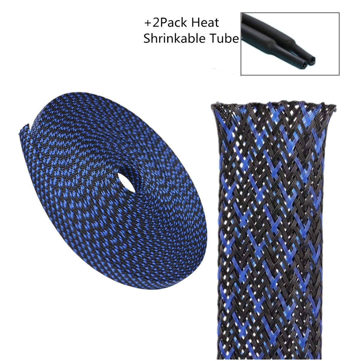 PET Expandable Braided Sleeving 1//4 Flexo Cable Sleeve Black Braided Sleeve for Braided Wire Sleeve Management Cord Protector 25 FT Blue/&Black Cable Sleeving