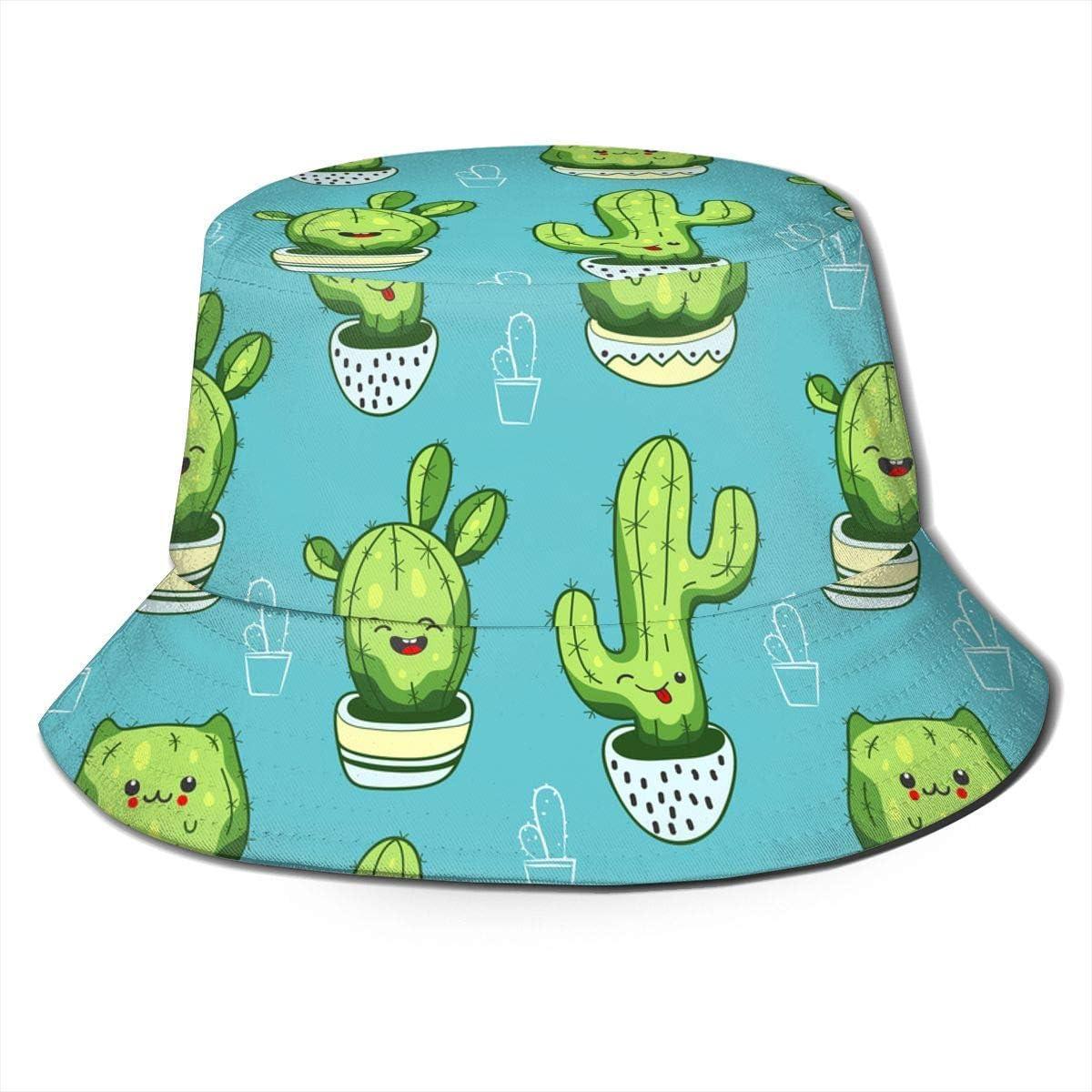 Not Applicable Packbarer Eimerhut Unisex Cute Kawaii Cactus Und Sukkulenten Print Travel Bucket Hat Sommer Fisherman Cap Sun Hat