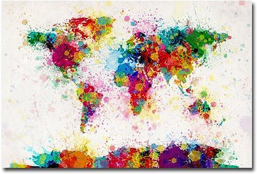 Michael Tompsett /'Watercolor World Map/' Rolled Canvas Art 18 x 24