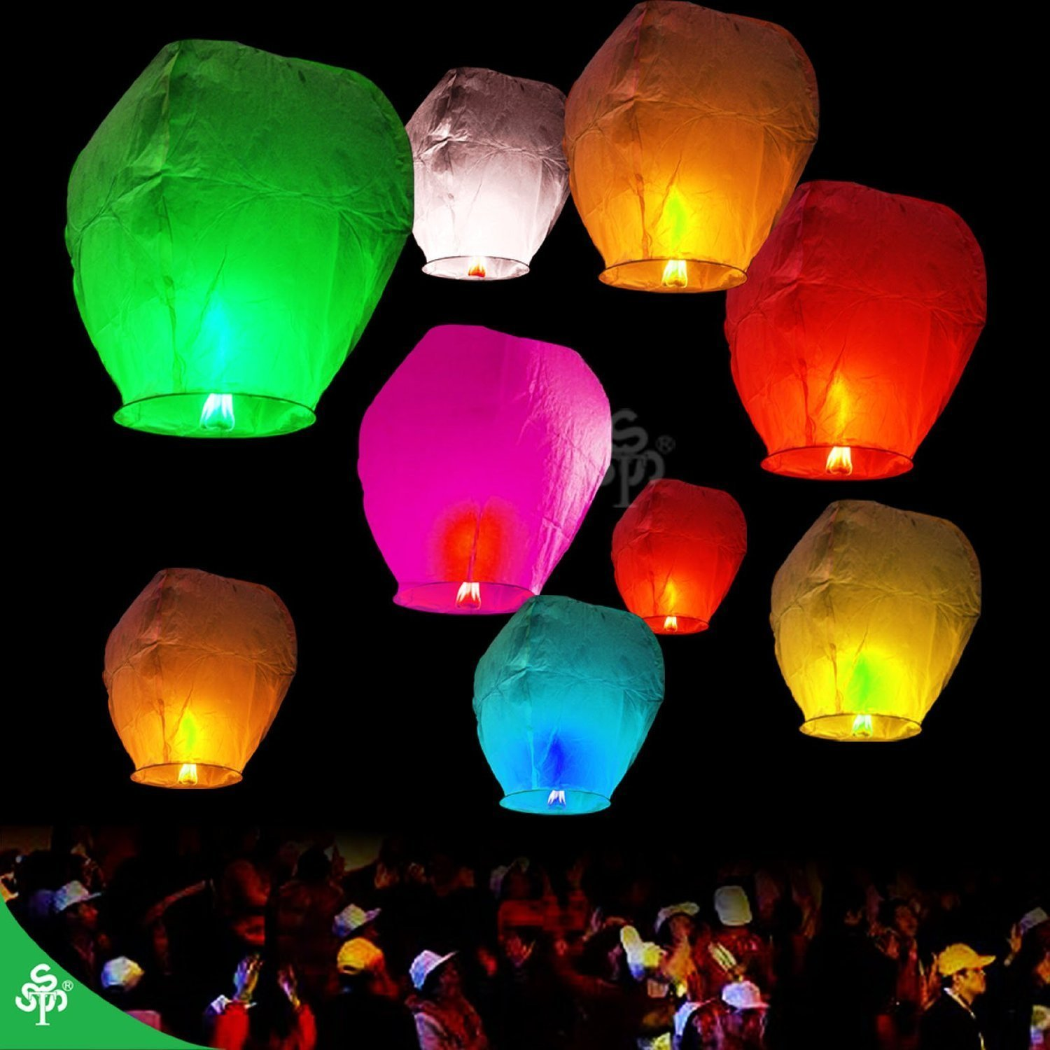 40 Chinese Sky Fly Fire Lanterns Wish Party Wedding Birthday Multi Color by TSSS