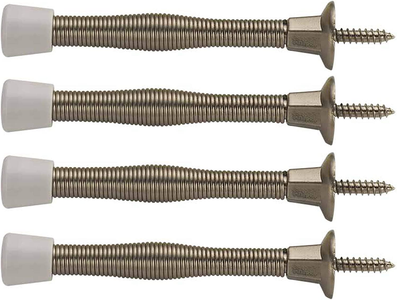 Pack of 4 Spring Type Door Stop Brass Finish