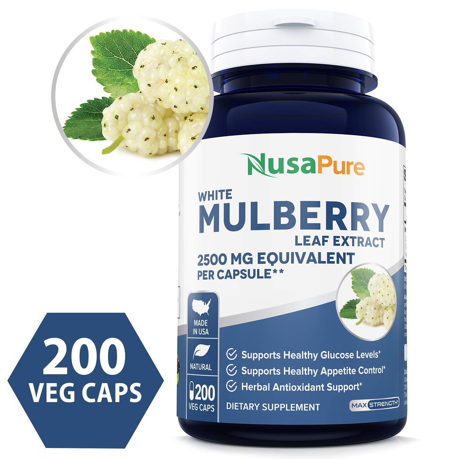 White Mulberry Leaf Extract 2500mg 200 Veggie Caps (Vegetarian, Non-GMO & Gluten Free) Natural High & Low Blood Sugar Control, Weight Loss Support by NusaPure (Image #1)