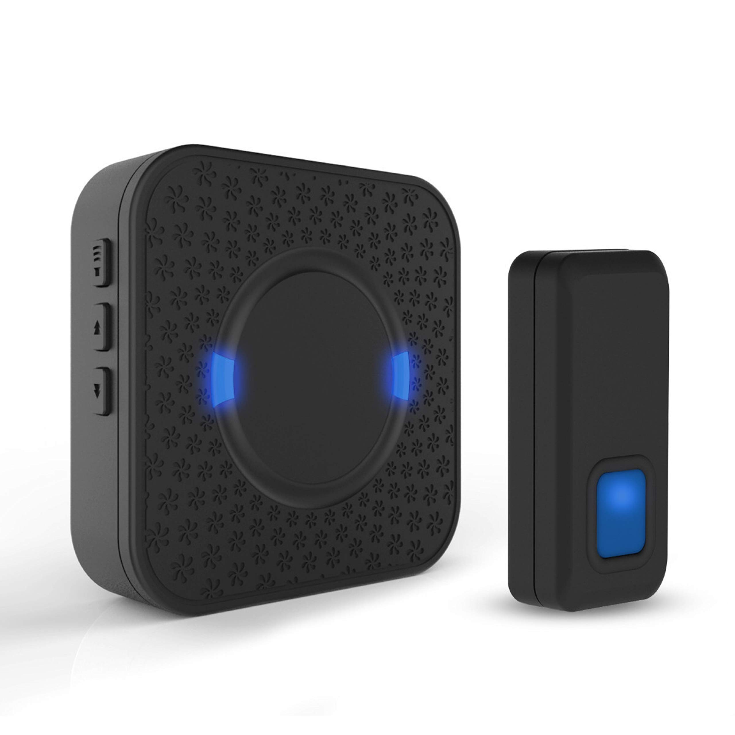 Wireless Doorbell ,Mini Waterpoof Doorbell Chime Operating at 1000 Feet with 55 Melodies, 5 Volume Levels,CD Quality Sound and LED Flash (Black) by XiMaiTe
