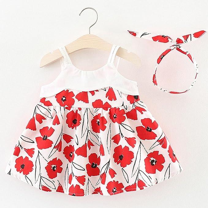 d20b4988d04 Amazon.com  Wesracia Toddler Girls Sleeveless Sundress Cartoon Flower Summer  Shirts for Little Girl Princess Dresses 2T~4T  Clothing