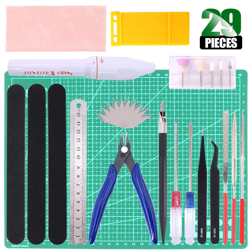 Keadic 29Pcs Gundam Modeler Basic Tools Craft Set with a Plastic Case and Bag for Hobby Model Assemble Building (Kit 2)