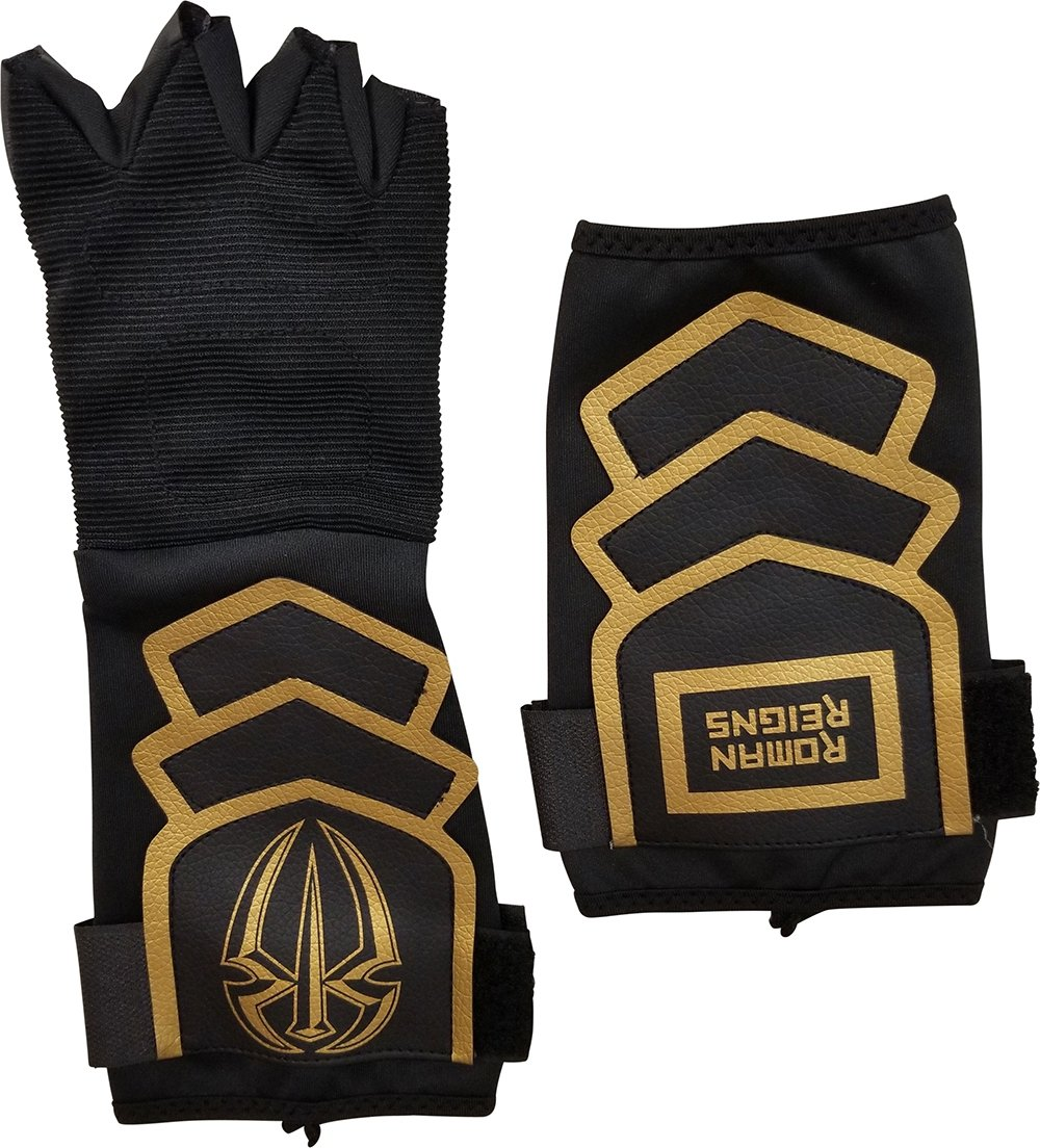 Roman Reigns Gold Logo WWE Authentic Superman Punch Glove Set,One Size,Black by WWE Authentic