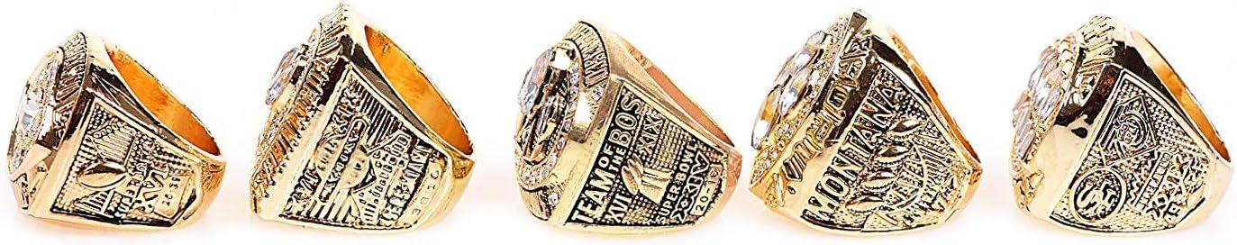 ILAVSHON Fantasy Footable Ring San Francisco 49ers Super Bowl Championship Rings 5 PCS Set Gift for Fans with Display Box Size 11