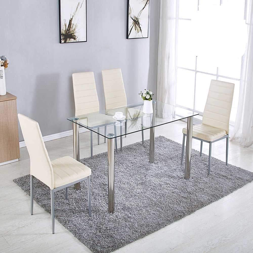 Amazon Com 5 Pieces Modern Glass Dining Table Set With 4 High Back