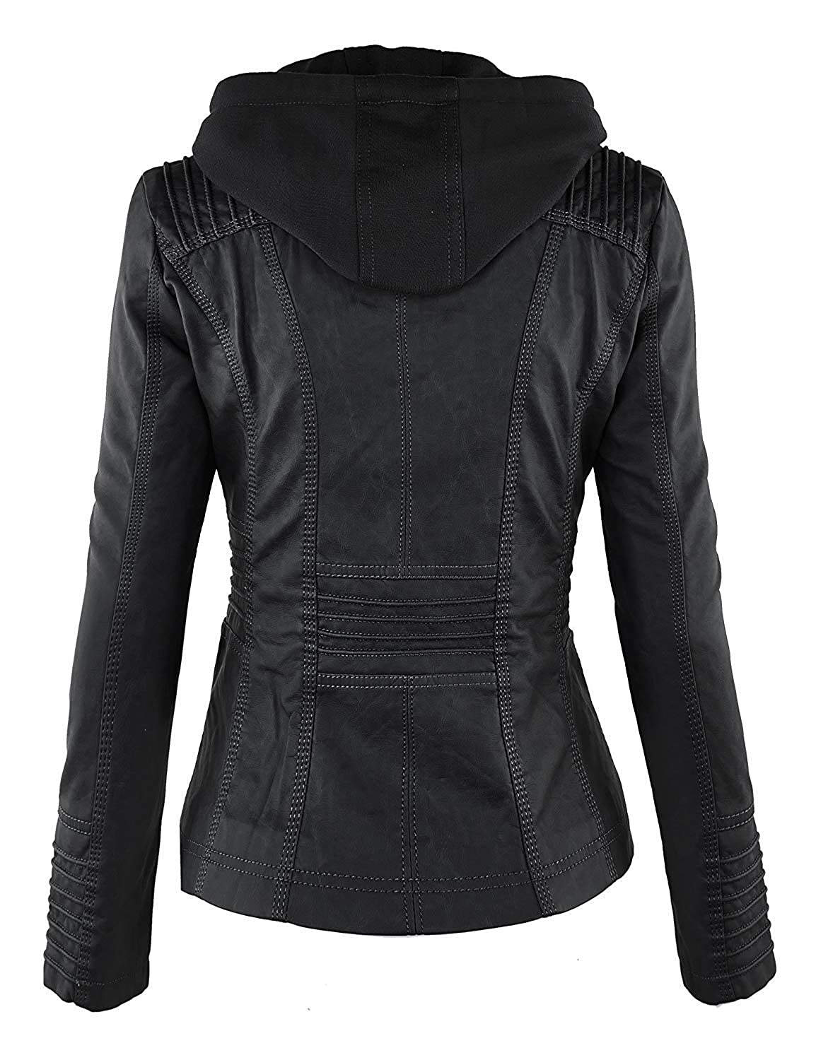 77a865776d8 Beauty Island Womens Hooded Faux Leather Motorcycle Jacket Plus Size Hoodie  Removable Full Zipper Bomber Outerwear M-7XL at Amazon Women s Coats Shop