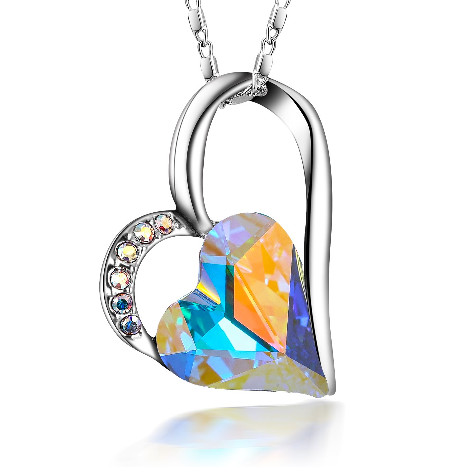 cb47a209a Galleon - SIVERY Eternal Love' Women Heart Necklace With Silver Swarovski  Crystal, Jewelry For Women