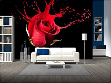 Wall26 Red Rose With Red Splashes On Black Background Removable Wall Mural Self Adhesive Large Wallpaper 100x144 Inches Amazon Com