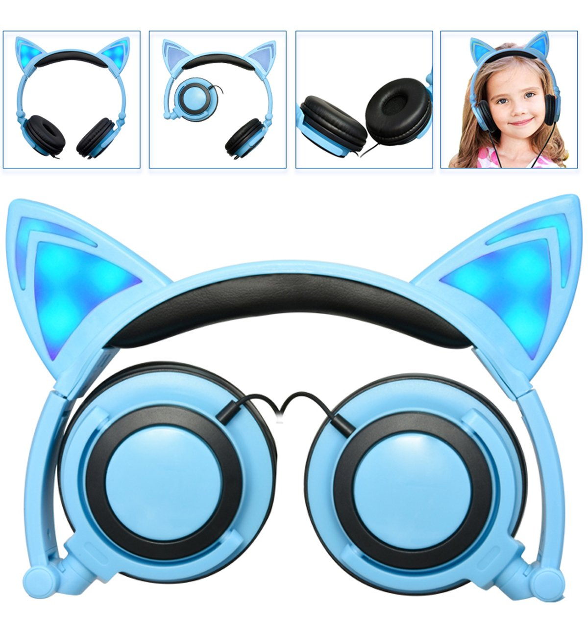 Headphone Cat Ear Headset, Foldable LED Light Cosplay Flash Earphone for Teens Girls Boys,Compatible for iPad,Tablet,Computer,iPhone,Android Mobile Phone (blue)