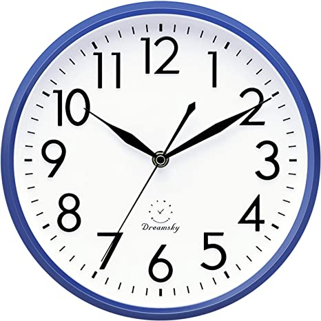 Amazon Com Dreamsky 10 Non Ticking Wall Clock Decorative Indoor Kitchen Round Clock 3d Numbers Display Battery Operated Wall Clocks Home Kitchen