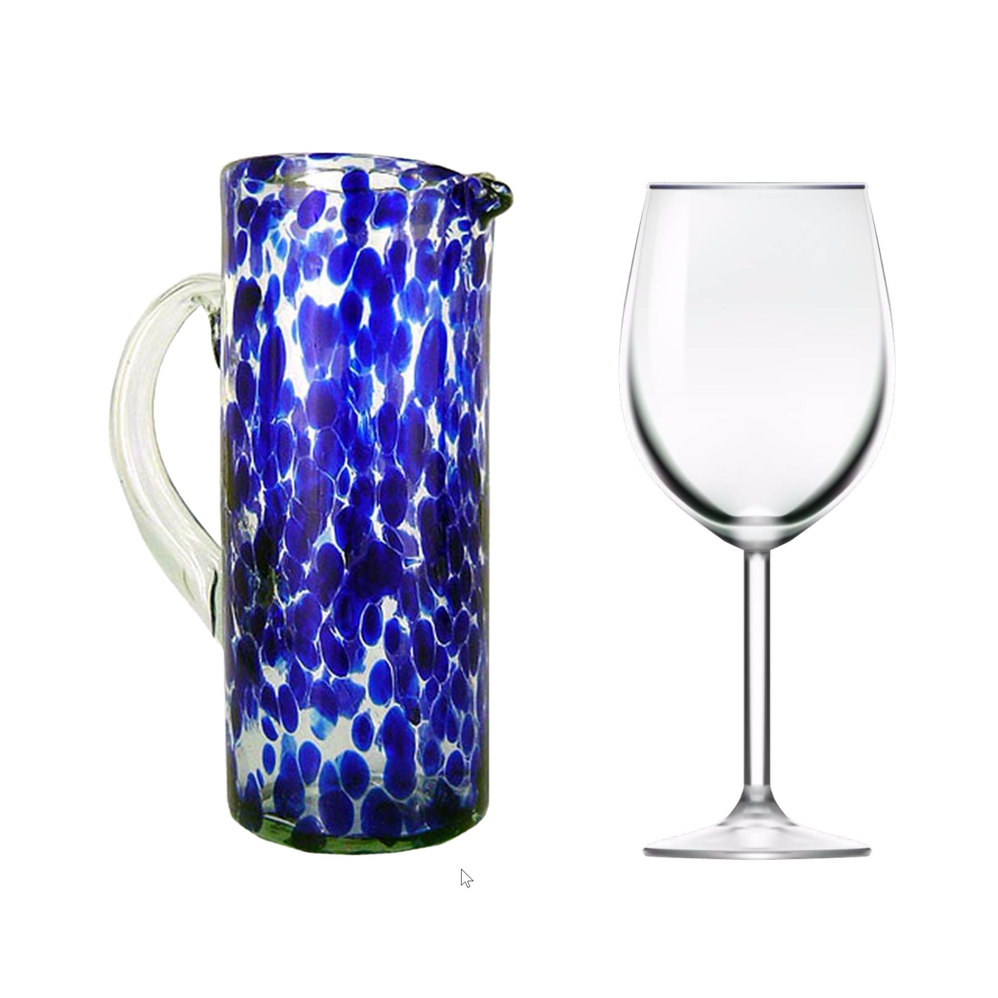 NOVICA Hand Blown Blue and Clear Decorative Recycled Glass Pitcher, 33 oz 'Dotted Blue' by NOVICA (Image #2)