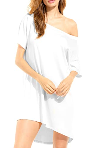 HOTOUCH Women Causual Short Batwing Sleeve off Shoulder Loose T Shirt Dress