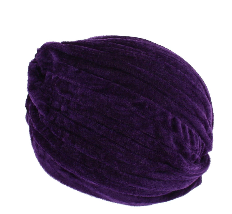 Zacs Alter Ego/® Turban pliss/é vintage en velours Id/éal pour perte de cheveux ou style violet