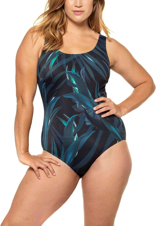 Damen Gro/ße Gr/ö/ßen ULLA POPKEN Badeanzug Wassersport RT Costume Intero Donna