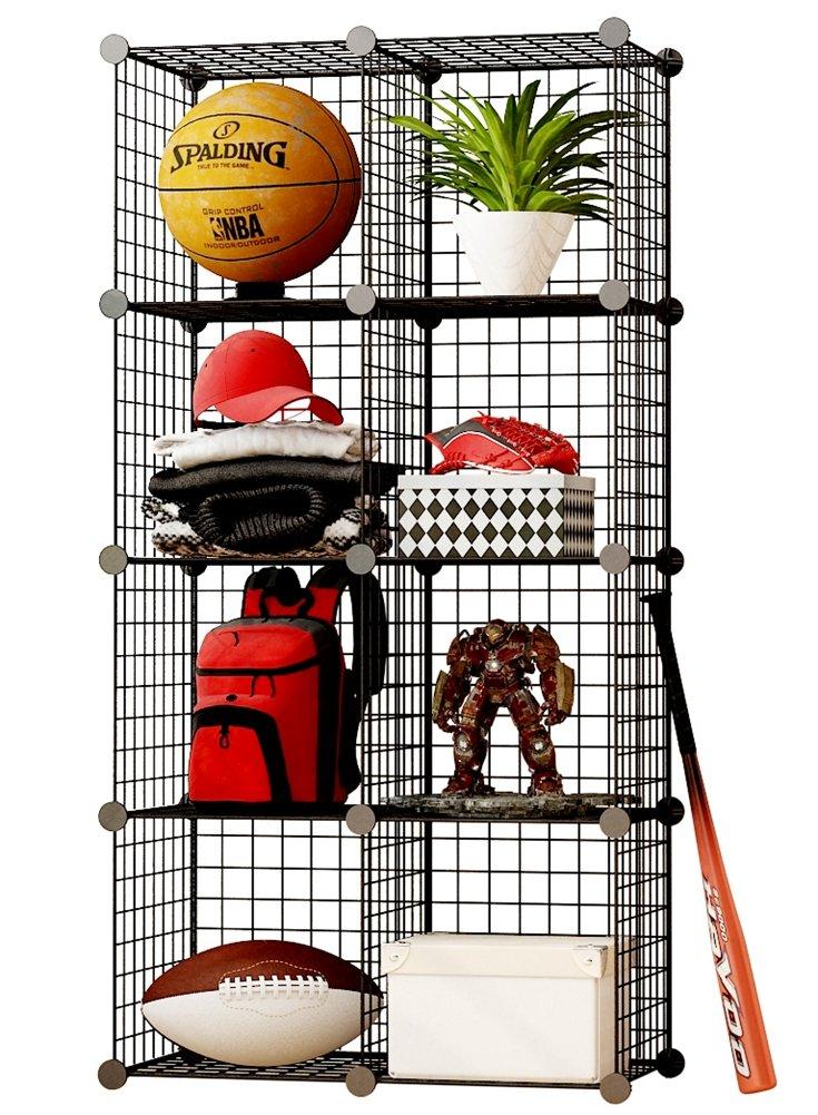 MAGINELS Wire Cube Storage Customizable Metal Shelving Unit Bookcase DIY Closet Organization System, 8 Grids Black