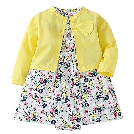 Feixiang Conjunto de Ropa para niños Vestido Floral de niña recién Nacida + Chaqueta de Abrigo