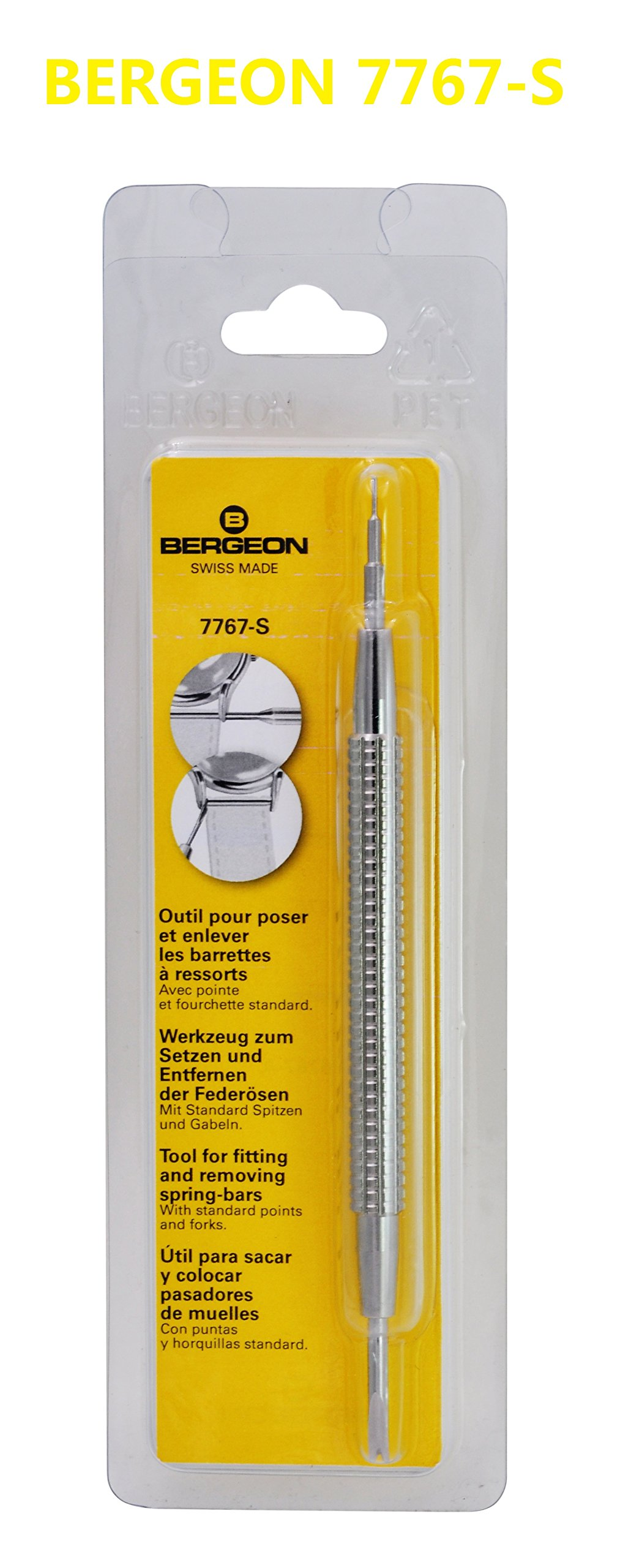 Bergeon 7767-S Watch Spring Bar Tool - Long Stainless Steel Handle with Replaceable Screw In Fine Strong Tool End