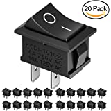MiMoo 20pcs On/Off Rocker Switch, Mini Boat Switch 10A/125V, 6A/250V SPST Press Button Toggle Switch for Car Auto Boat Household Appliances, Black