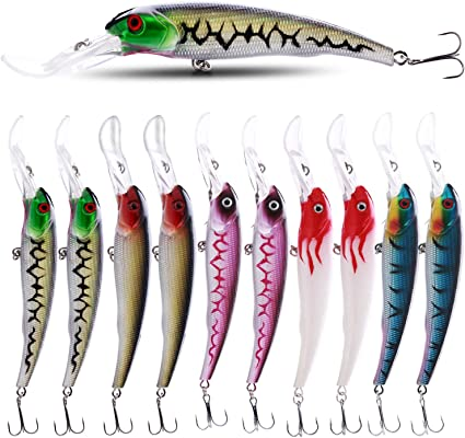 "6 NEW Diving Shad Fishing Crankbait Lure Lot Bait 4/"" treble hooks 0.5 oz"