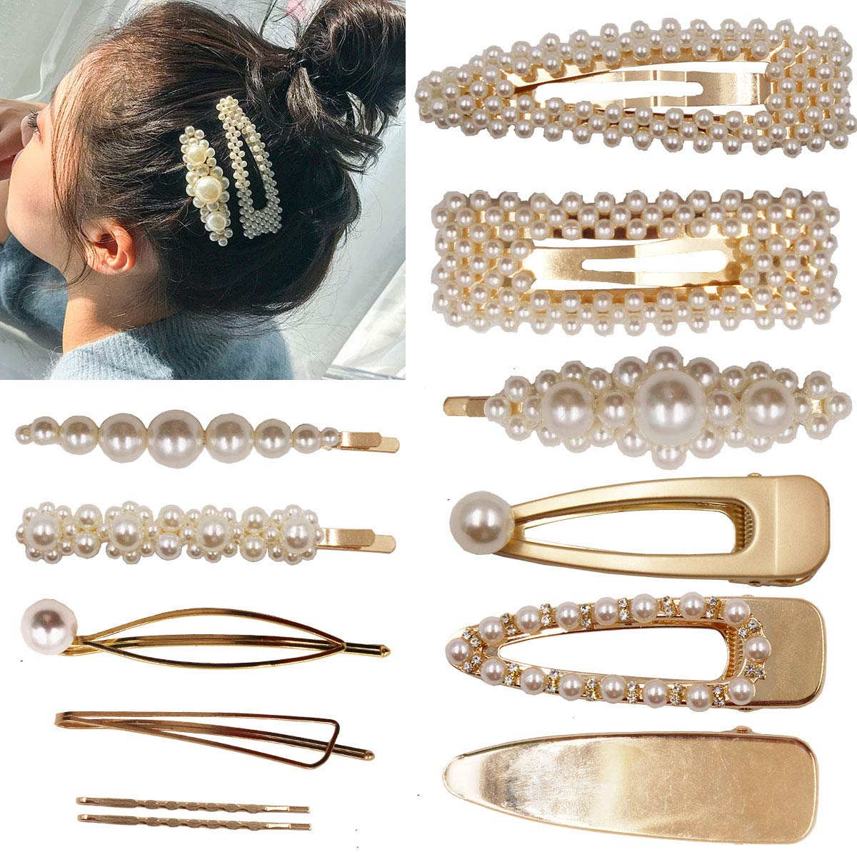 12PCS Elegant Hairpins Hair Accessory for Girls Women Lady Bridal Weeding White Pearl Jewelry Flower Hair Clips Pins Barrettes (Gold Hair Clips)
