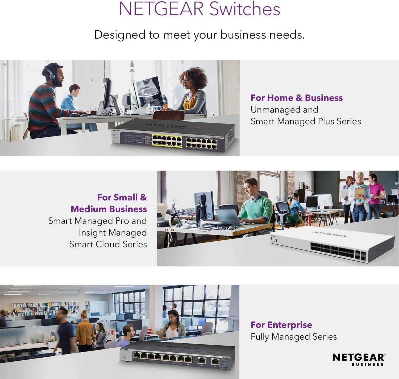 NETGEAR 8-Port Gigabit Ethernet Smart Managed Pro PoE Switch Desktop GS110TP 2 x 1G SFP - with 8 x PoE+ @ 55W