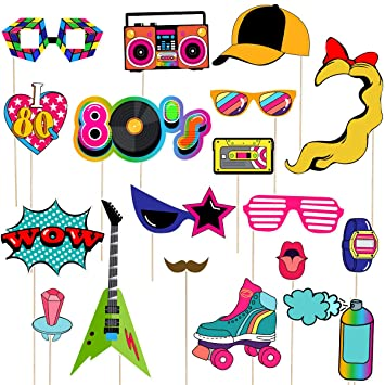 LUOEM 21pcs 80s Photo Booth Props Fiesta de cumpleaños Photo Props