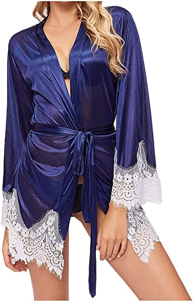 Navy Blue Bathrobe Women Lace Nightgown Pajamas Sleepwear Silk Bridal Gowns