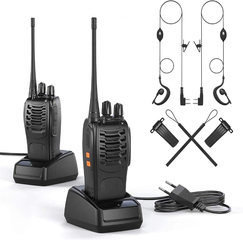 OWSOO Walkie Talkie Profesional Recargable PMR446 Walkis 1500mah CTCSS DCS 6KM Radiocomunicación con Linterna LED y Auriculares (2 PCS) para Construccion/Aventuras