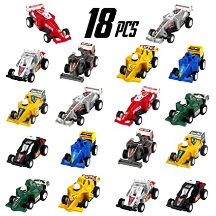 Amazon Com Pull Back Vehicles Mini Race Car Set 18 Pack Kids Party