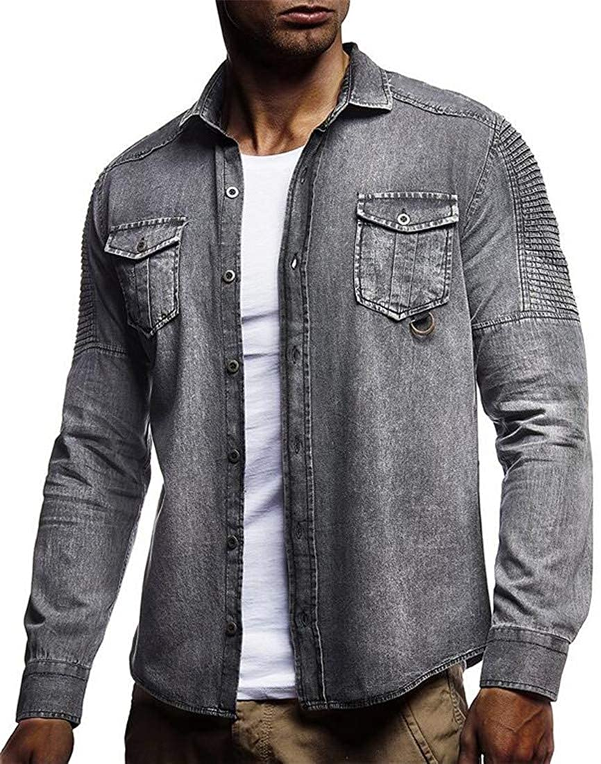 XTX Mens Button-Down Coat Denim Long Sleeve Ruched Jean Lapel Collar Shirt