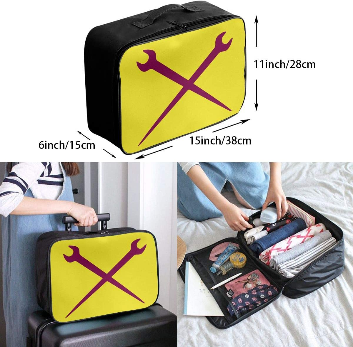 Ironworker Crossed Tools Carry Lightweight Large Capacity Portable Outdoor Luggage Trolley Bag