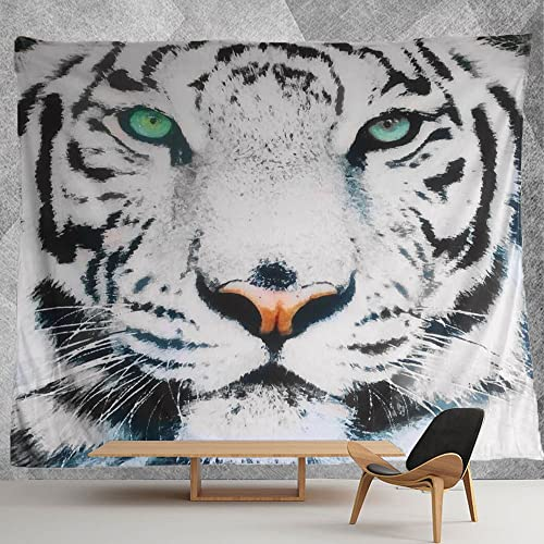 HMWR Black White Tiger Green Eyes Tapestry Wall Hanging Art Painting Wall Decor Art Home Decorations Cotton Bedspread Picnic Bedsheet Blanket Hippie Tapestries 60×80