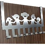 EKRON Happy Family Over Door Hook 8 Stainless Steel Door Hook Organiser/Wall Hook Hanger for Hanging Clothes, Jeans, Random Color
