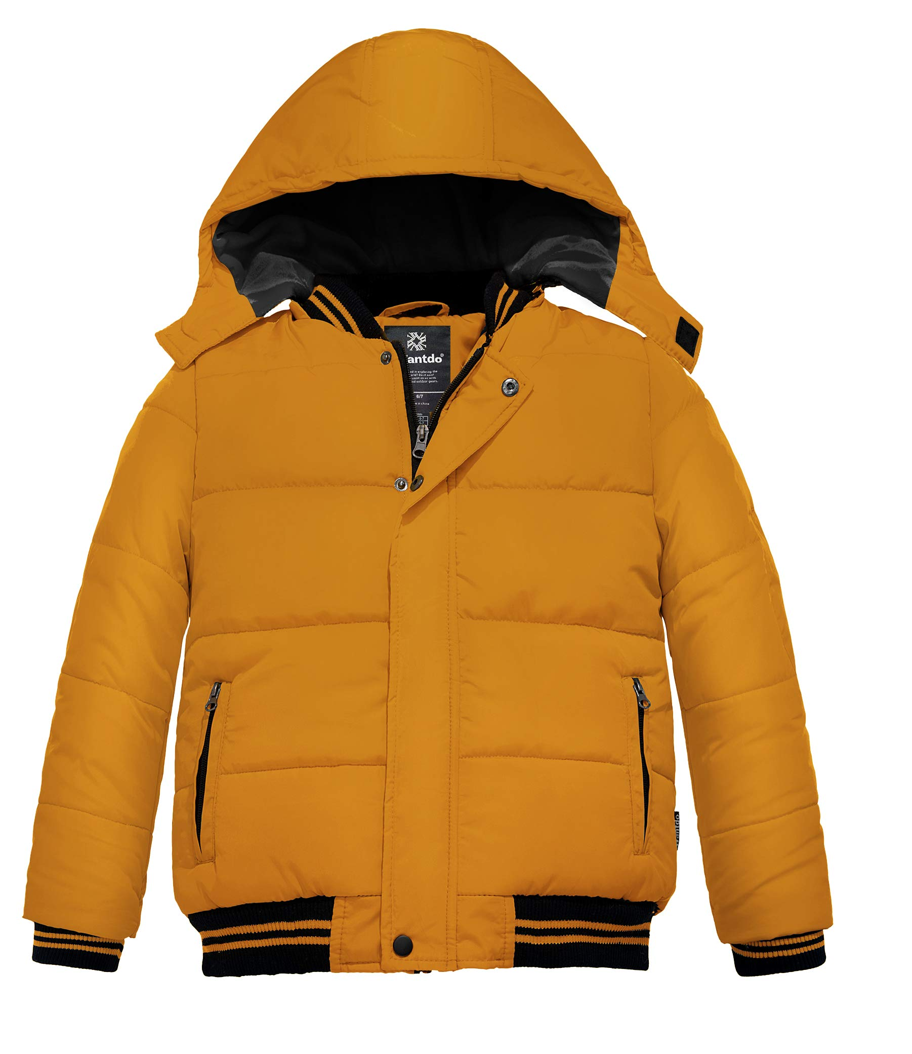 Wantdo Boy's Warm Winter Coat Removable Hood Windproof Puffer Jacket Ginger 8