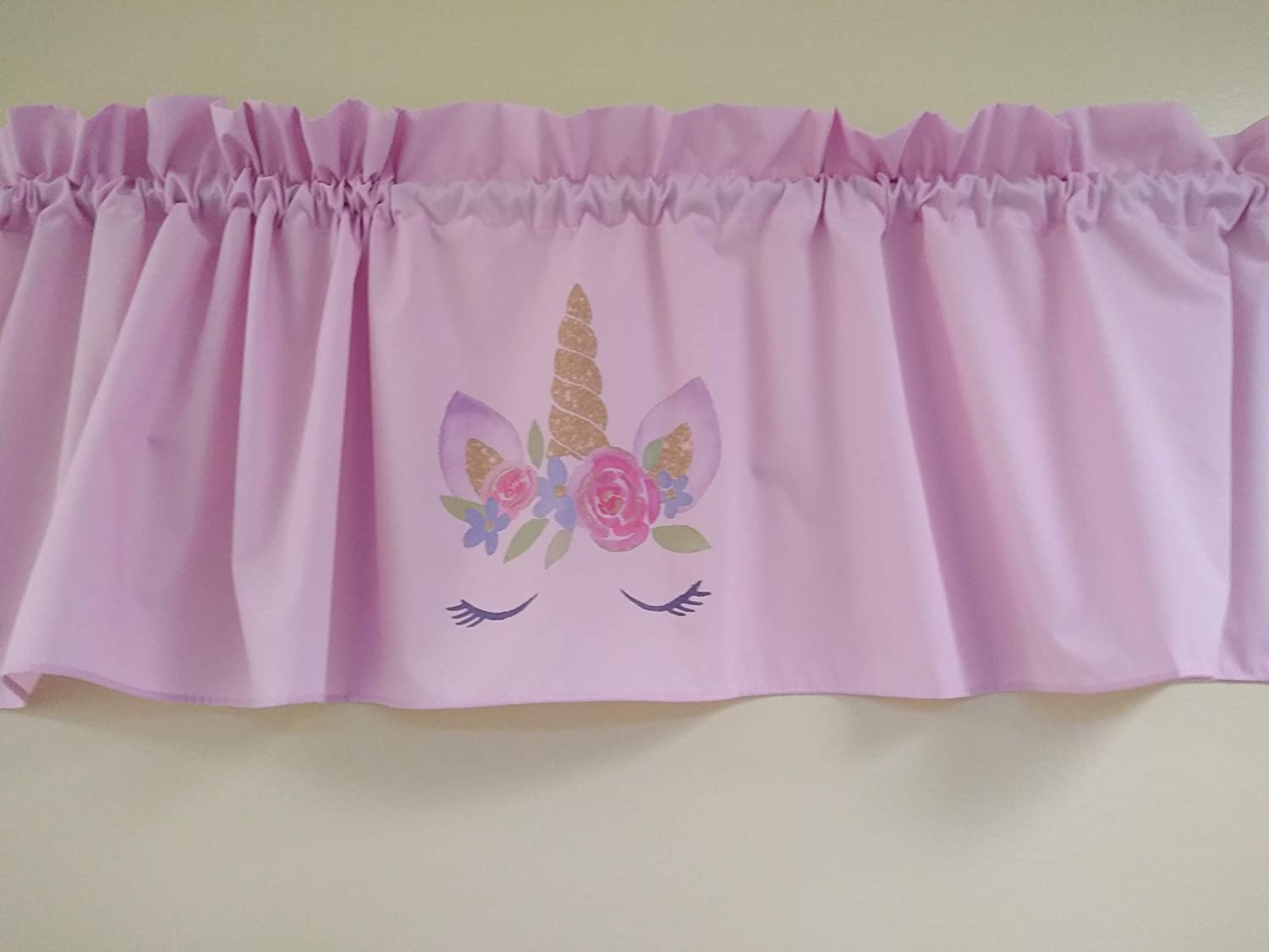 Girls room window treatment decor Pink Unicorns valance curtain Solid White valance sublimation on fabric 58 inches wide Fabric