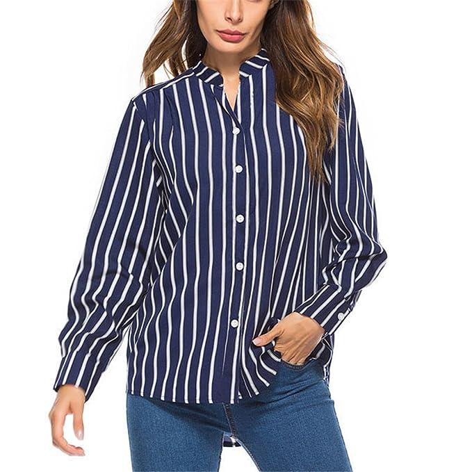 Camisa de Rayas con Botones Casual Blusas de Mujer Blusas de Moda con Mangas largas Blusa